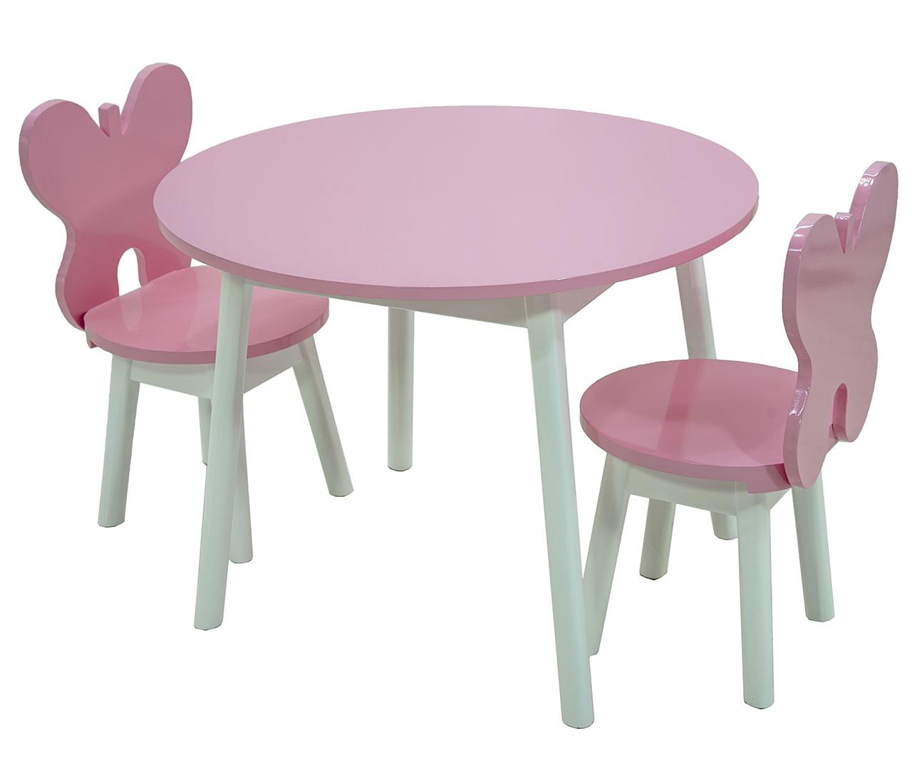 Image of: Conjunto Infantil Colorido Mesa Com Cadeiras Borboleta Rosa E Branco