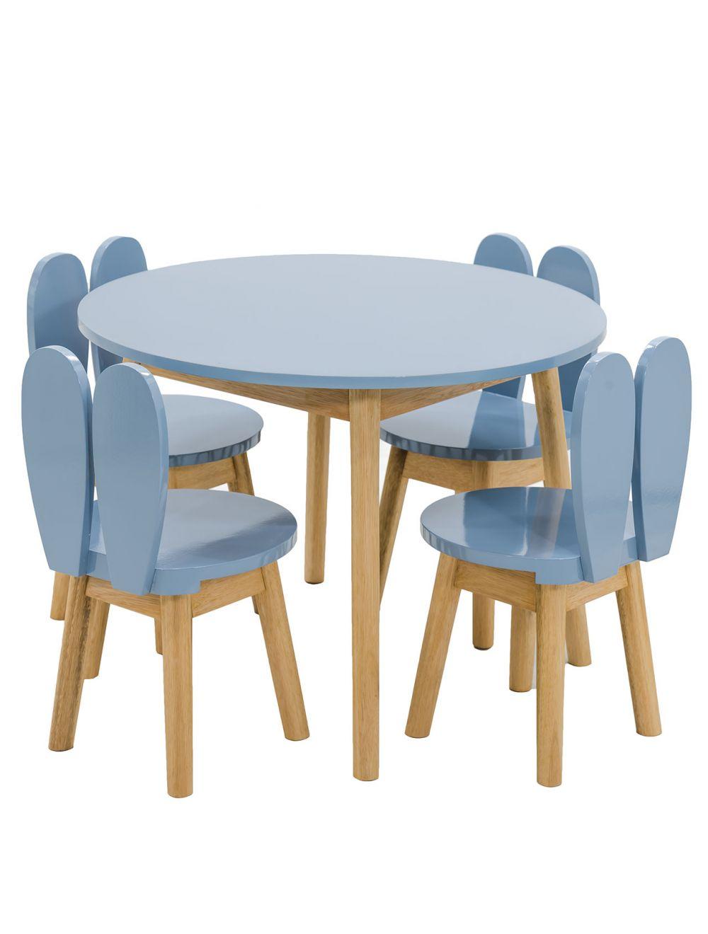 Image of: Conjunto Infantil Colorido Mesa Com Cadeiras Coelho Azul Grafite E Madeira Cores